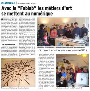 Une action pour le développement de la créative à l'ère numérique menée par Cécile Lucsko du Pays de l'Ardèche Méridionale et Philippe Garenc du Glass fablab